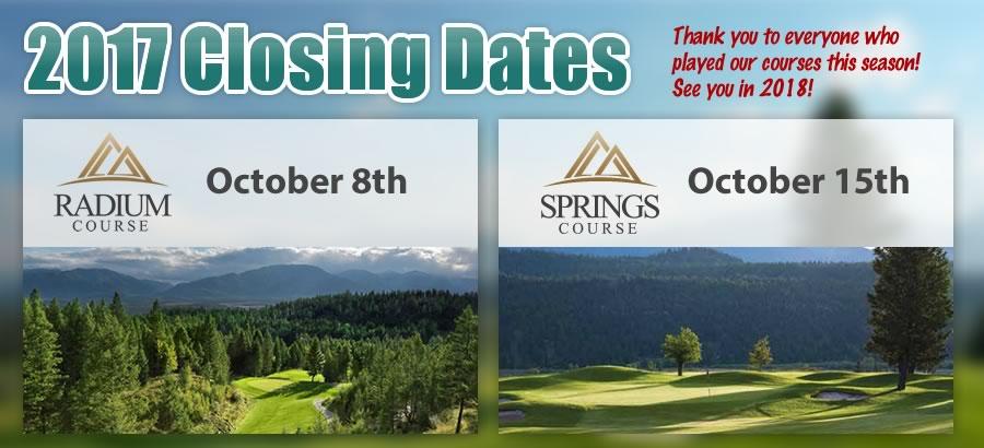 2017 Closing Dates